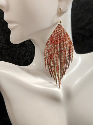Pink/Cream Metallic Italian Leather Earrings
