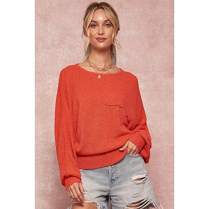 Orange Loose Fit Sweater