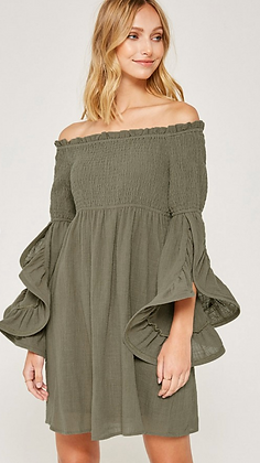 Green Bell Sleeve Dress