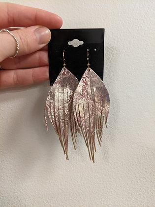 Metallic Gold/Pink Italian Lather Earrings