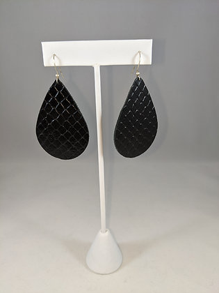 Black Textured Leather Earrings