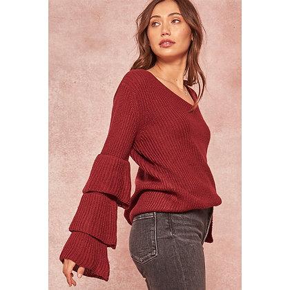 Burgundy Ruffle Slv Sweater
