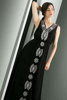 Pearl Embroidered Maxi Dress
