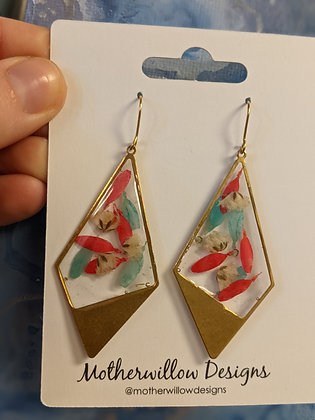 Colorful Pressed Floral Earrings