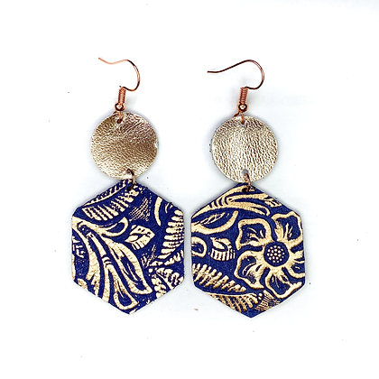 Rose Gold Navy Embossed Leather Earrings