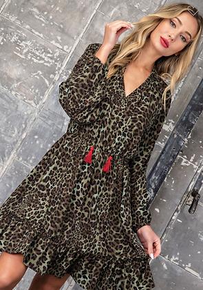 Olive Leopard Dress