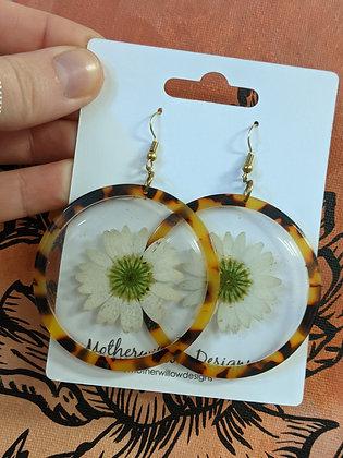Dandelion Pressed Tortoise Earrings