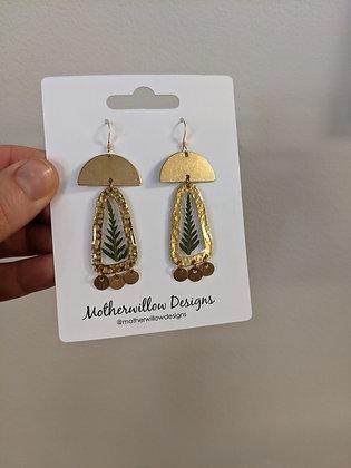 Green Fern Gold Mix Earrings