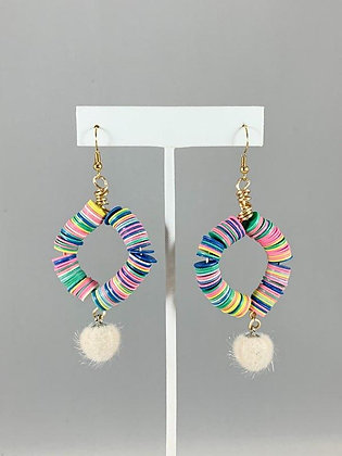 Beaded Pom Earrings