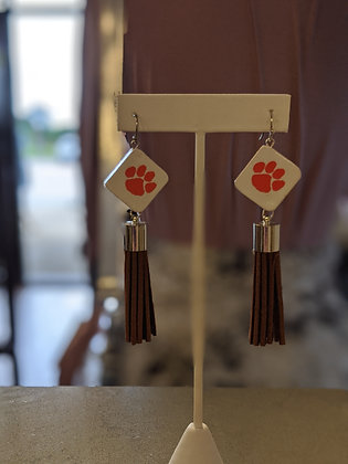 Brown Tassel Clemson Earrings