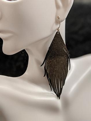 Gold Metallic/Black Italian Leather Earrings