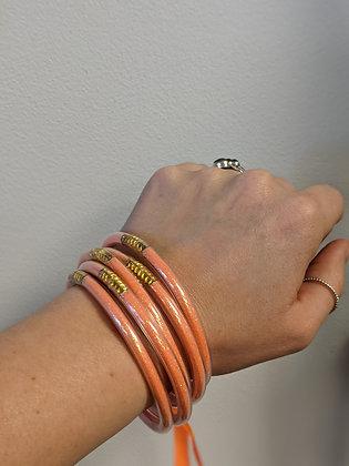 Orange/Gold Jelly Bracelet Set
