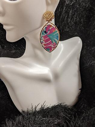 Shell Pendant Italian Leather Earrings
