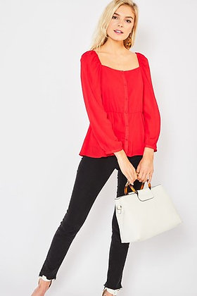 Red Square Neck Button Up Blouse