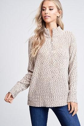 Oatmeal Zip UpNeck Sweater
