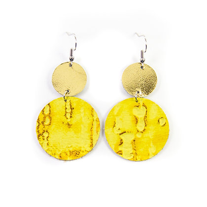 Yellow Distressed Leather Earrings