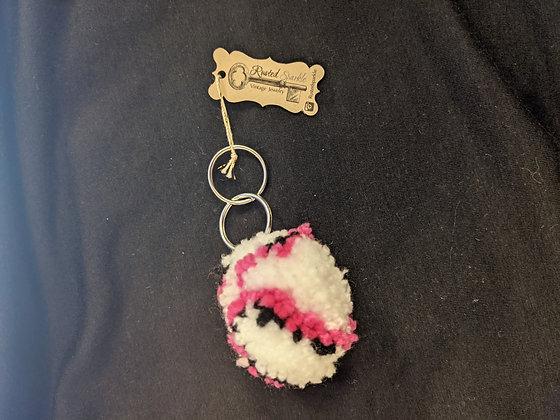 Hot Pink Pompom Keychain