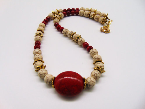 "16"" Howlite and Coral Necklace"