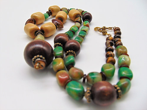 "30"" Necklace w/ Jade, Tiger Eye & Wood Beads"