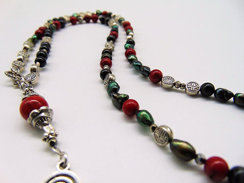 "22"" Various-stones, beaded necklace."