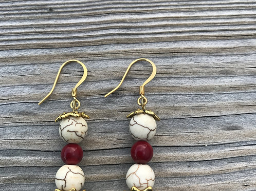 Howlite and Coral Earrings