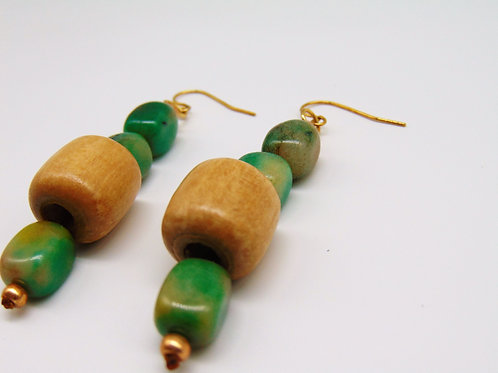 Jade and Wooden Earrings