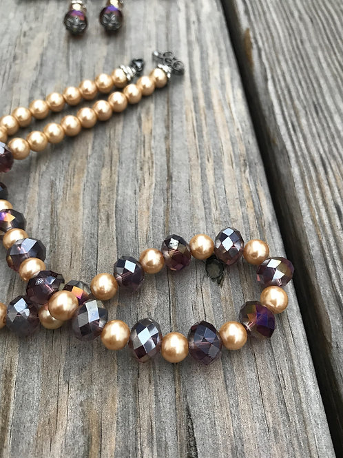 18 Inch Pearl and Crystal Necklace