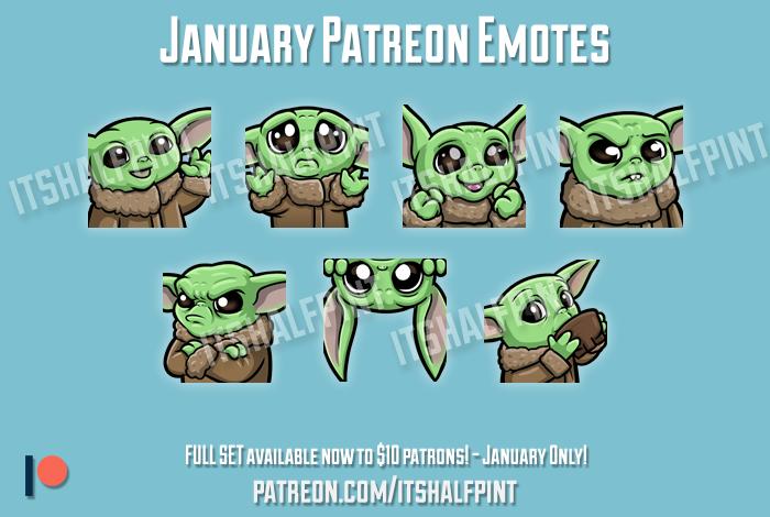 Baby Yoda Star Wars Mandalorian Twitch Emotes Cute Commissions