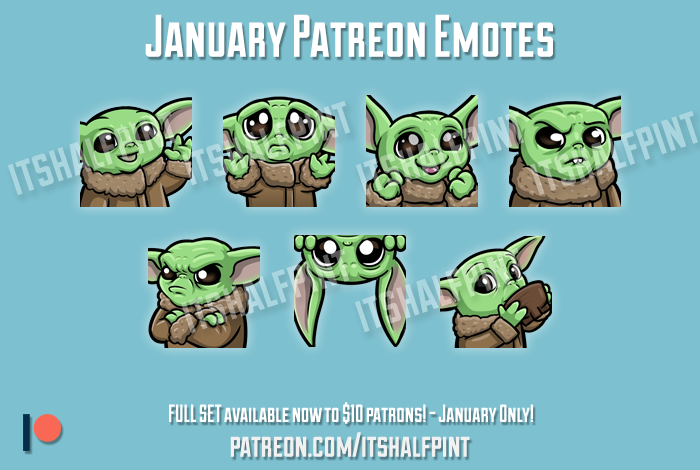 Twitch emotes baby yoda cute star wars mandalorian grogu sad sip lurk happy