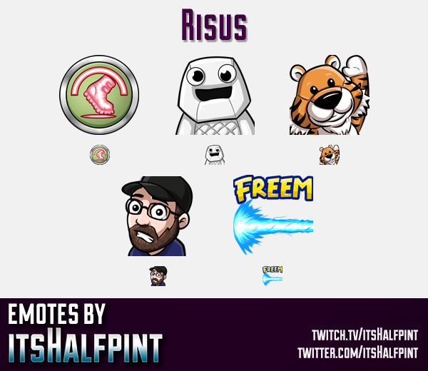 Risus  | Twitch Emotes | Cute Emotes | Custom Twitch Emotes | Emote Commissions | itsHalfpint | Mixe