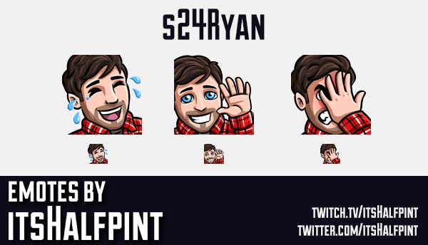 s24Ryan  | Twitch Emotes | Cute Emotes | Custom Twitch Emotes | Emote Commissions | itsHalfpint | Mi