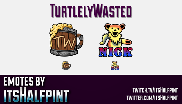 TurtlelyWasted  | Twitch Emotes | Cute Emotes | Custom Twitch Emotes | Emote Commissions | itsHalfpi