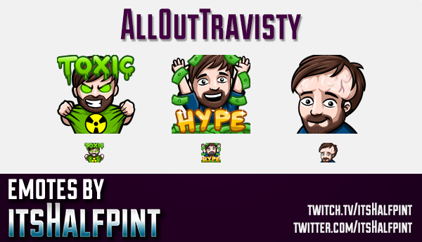 AllOutTravisty  | Twitch Emotes | Cute Emotes | Custom Twitch Emotes | Emote Commissions | itsHalfpi