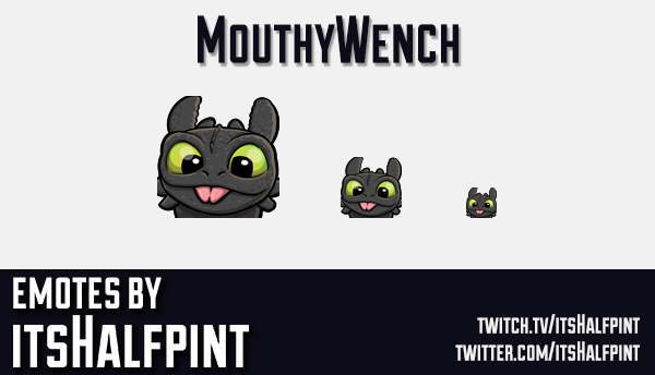 MouthyWench | Twitch Emotes | Cute Emotes | Custom Twitch Emotes | Emote Commissions | itsHalfpint |