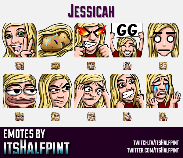 Jessicah | Twitch Emotes | Cute Emotes | Custom Twitch Emotes | Emote Commissions | itsHalfpint | Mi