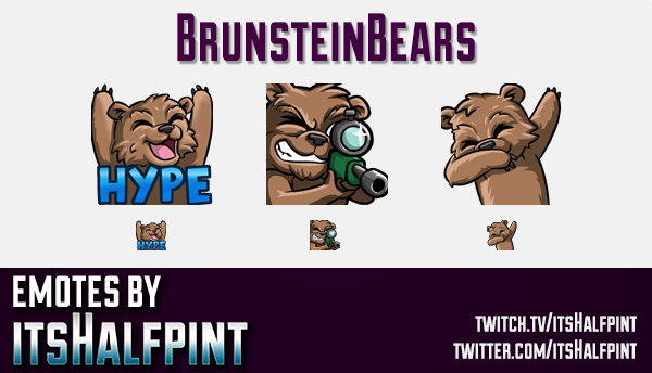 BrunsteinBears  | Twitch Emotes | Cute Emotes | Custom Twitch Emotes | Emote Commissions | itsHalfpi