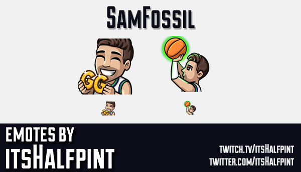 SamFossil  | Twitch Emotes | Cute Emotes | Custom Twitch Emotes | Emote Commissions | itsHalfpint |