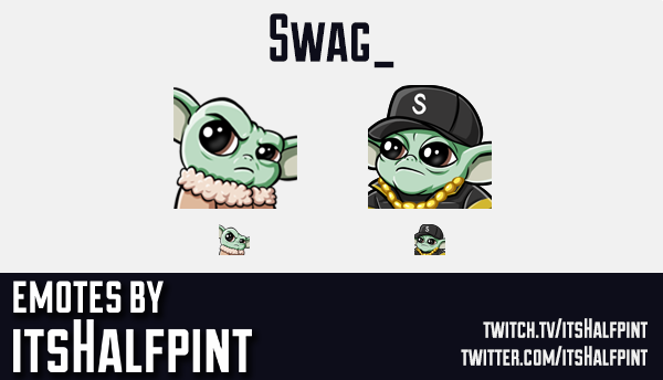 Swag | Baby Yoda Twitch Emotes | Cute Emotes | Custom | Commissions | itsHalfpint