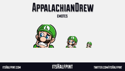 AppalachianDrew Luigi Cringe Mario | itsHalfpint emote artist| Twitch Emotes | Cute | Custom | Commi