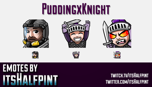 PuddingxKnight | Twitch Emotes | Cute Emotes | Custom Twitch Emotes | Emote Commissions | itsHalfpin