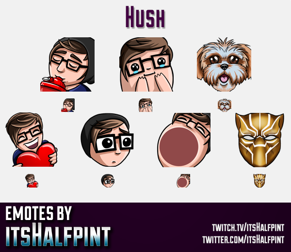 Hush | Twitch Emotes | Cute Emotes | Custom Twitch Emotes | Emote Commissions | itsHalfpint | Mixer