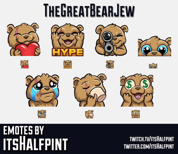 TheGreatBearJew | Twitch Emotes | Cute | Custom | Commissions | itsHalfpint