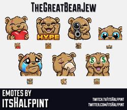 TheGreatBearJew | Twitch Emotes | Cute | Custom | Commissions | itsHalfpint