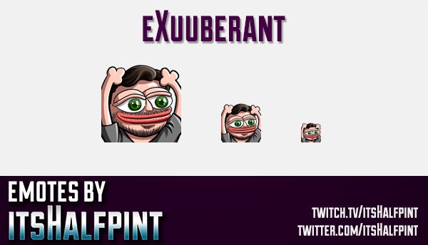 eXuuberant | Twitch Emotes | Cute Emotes | Custom Twitch Emotes | Emote Commissions | itsHalfpint |
