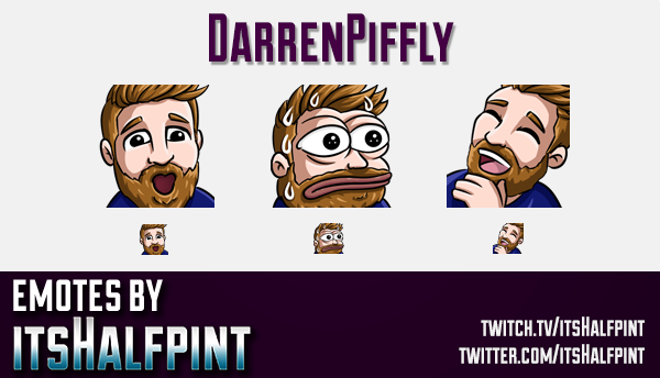 DarrenPiffly  | Twitch Emotes | Cute Emotes | Custom Twitch Emotes | Emote Commissions | itsHalfpint