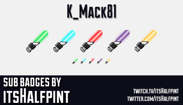 K_Mack81 | Twitch Sub Badges | Lightsaber | Lightsabre