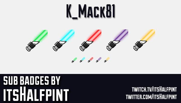 K_Mack81 | Twitch Sub Badges | Lightsaber | Lightsabre