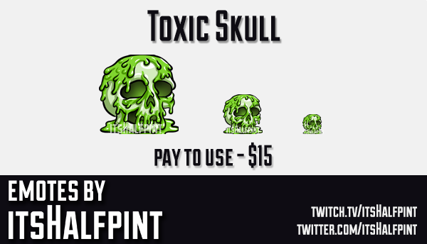 ToxicSkull  | Twitch Emotes | Cute Emotes | Custom Twitch Emotes | Emote Commissions | itsHalfpint |