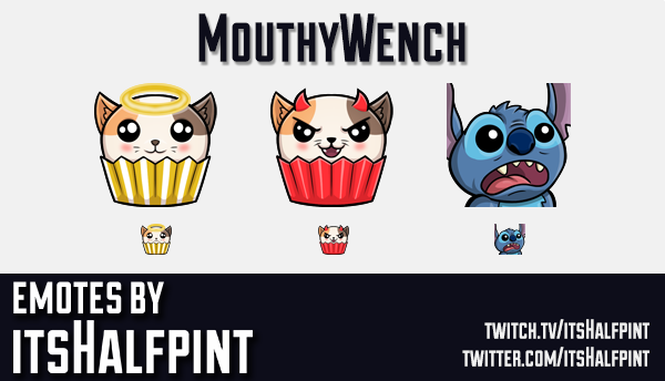 MouthyWench | Lilo Stitch | Twitch Emotes | Cute | Custom | Commissions | itsHalfpint