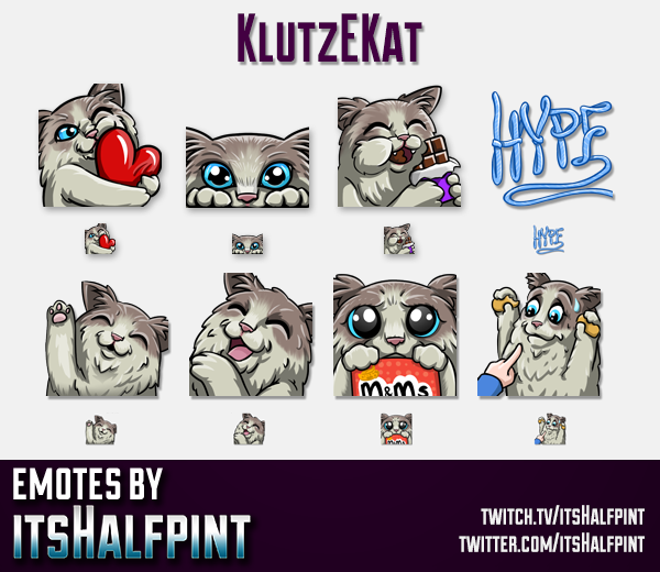 KlutzEKat  | Cat Emotes | Twitch Emotes | Cute Emotes | Custom Twitch Emotes | Emote Commissions | i